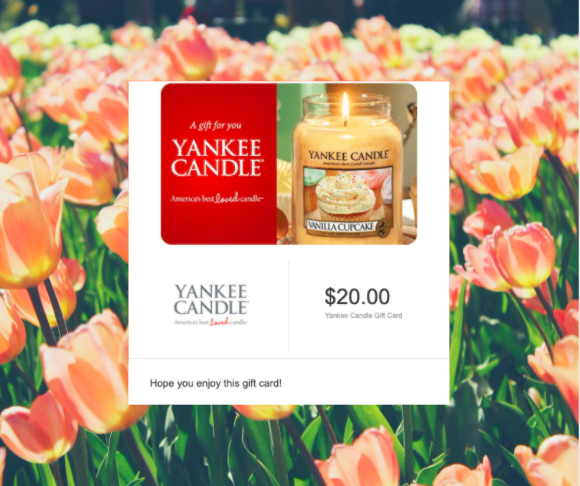$20 Yankee Candle Gift Card Giveaway Giveaway Image
