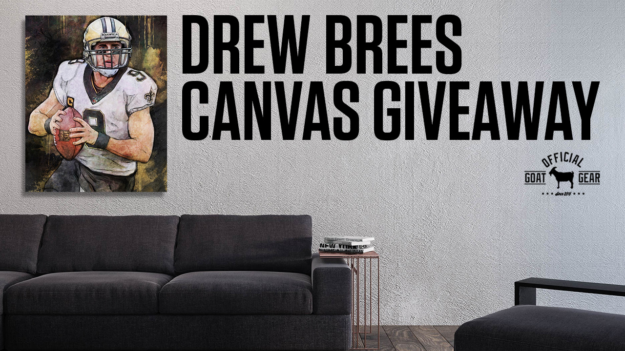 Enter for a chance to win a 24 x 30 Drew Brees Canvas from Zeusarts! Giveaway Image
