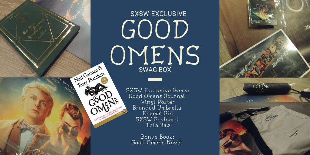 Enter for a chance to win SXSW Exclusive Good Omens Swag: Journal, Vinyl Poster, Branded Umbrella, Tote Bag, a copy of the book and more! Giveaway Image
