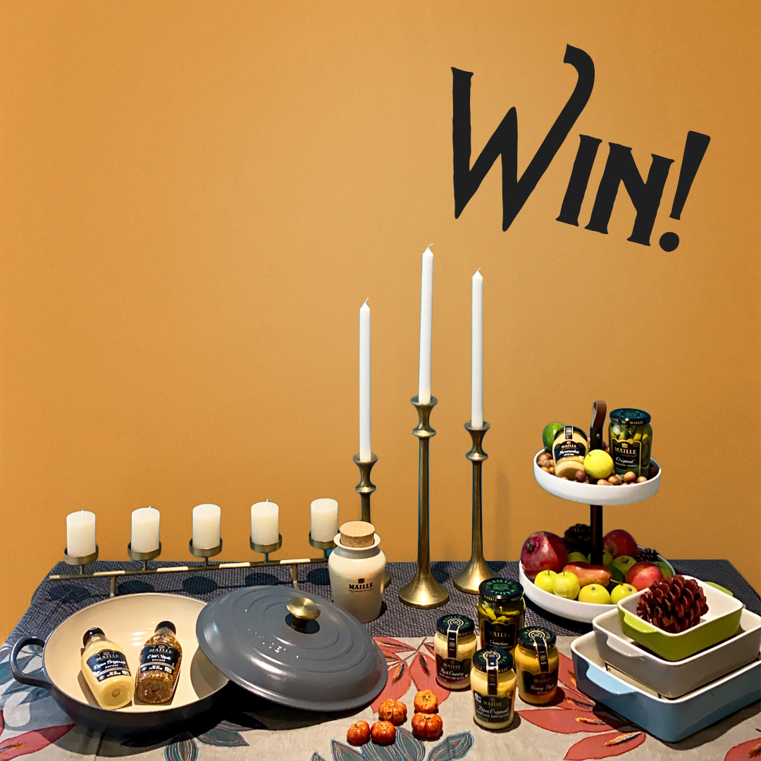 Win a Le Creuset Everyday Pan, Ceramic Baking Set, 2-Tier Server, Brass Candle Holders, 2 Tablecloths, Maille Flavor Collection & Much More! ARV of $750 Giveaway Image