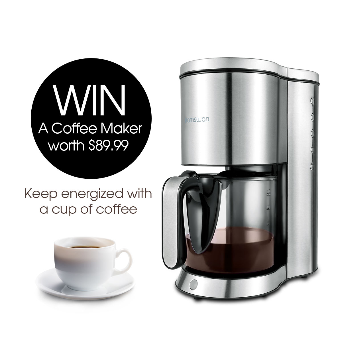 Enter for a chance to win a Coffee Maker worth $90! Giveaway Image