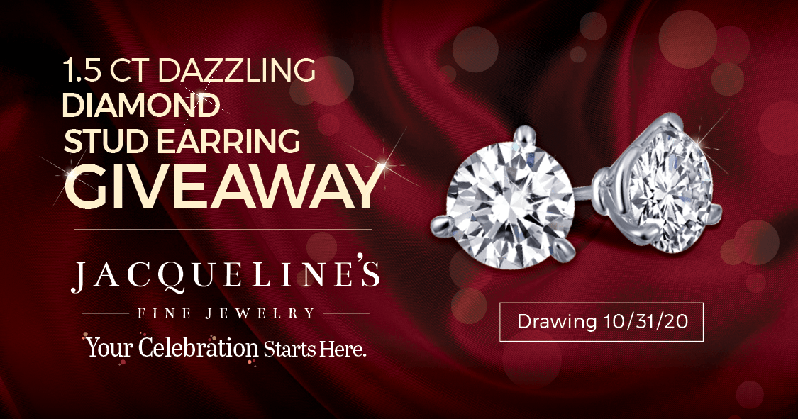 Win 1.5CT Dazzling Diamond Stud Earrings from Jacqueline's Fine Jewelry! Giveaway Image