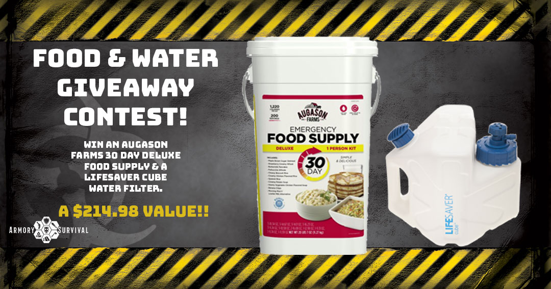 Win an Augason Farms 30 day deluxe food supply and a Lifesaver Cube water filter, a $214.98 value Giveaway Image