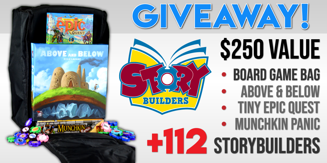 Win a board game bag with 3 new board games OR a $150 Amazon Gift Card if outside NA Giveaway Image