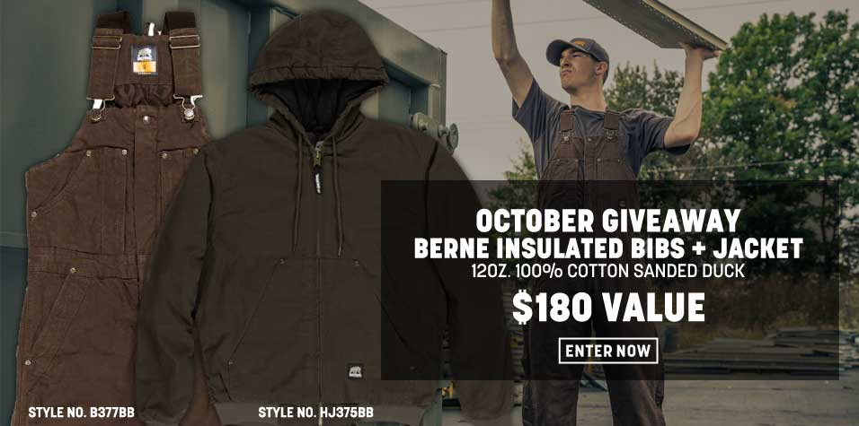 Enter to win a set of Berne Insulated Bibs and a Jacket from Rural King. Valued at $180. Giveaway Image