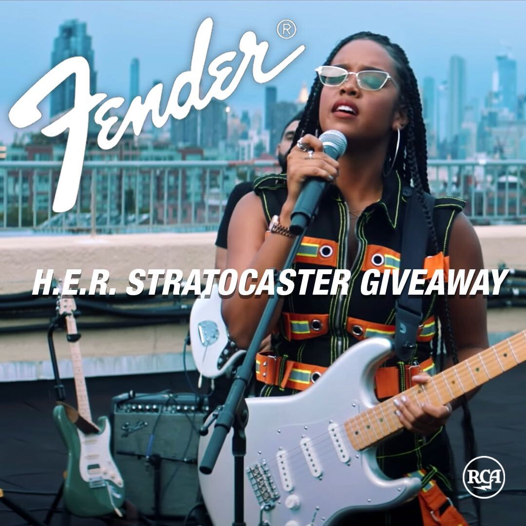 online contests, sweepstakes and giveaways - Win H.E.R.'s Signature Fender Stratocaster Guitar