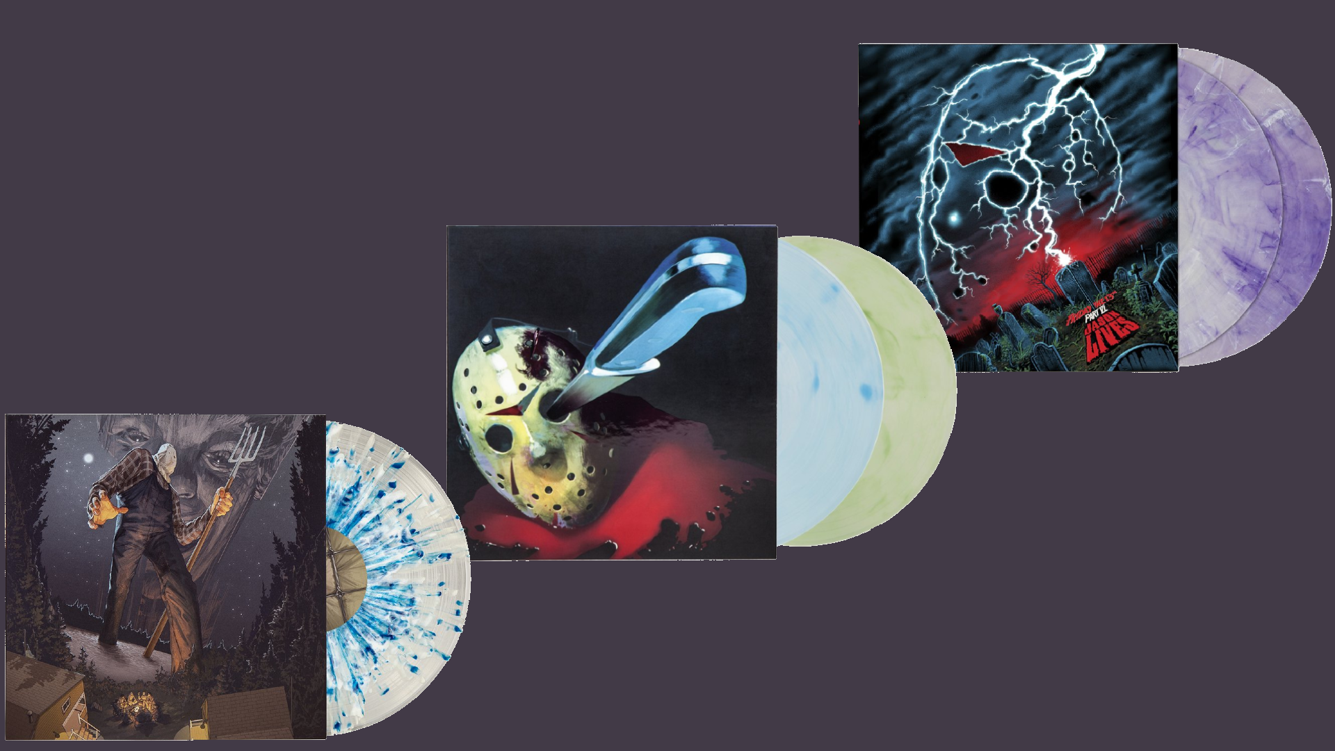 Waxwork Friday the 13th Vinyl Bundle ~ Enter to win vinyl copies of Friday the 13th, Friday the 13th Part 2, Friday the 13th: The Final Chapter, and Friday the 13th Part VI: Jason Lives. Giveaway Image