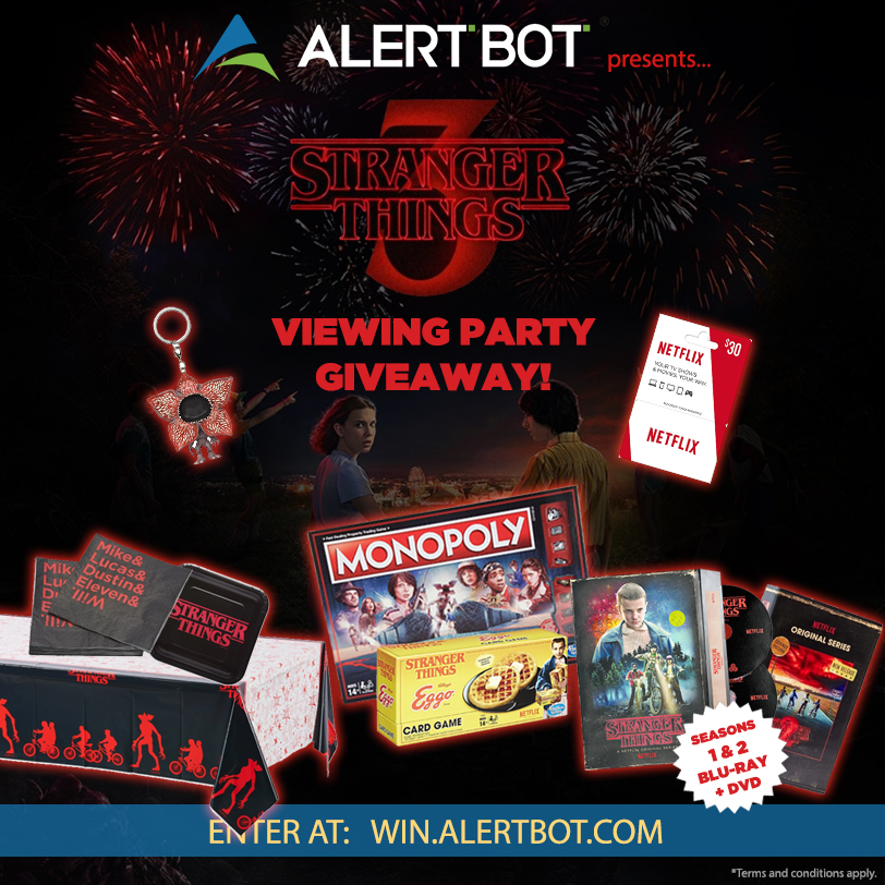 "AlertBot ""Stranger Things 3"" Viewing Party Pack Giveaway! Giveaway Image"