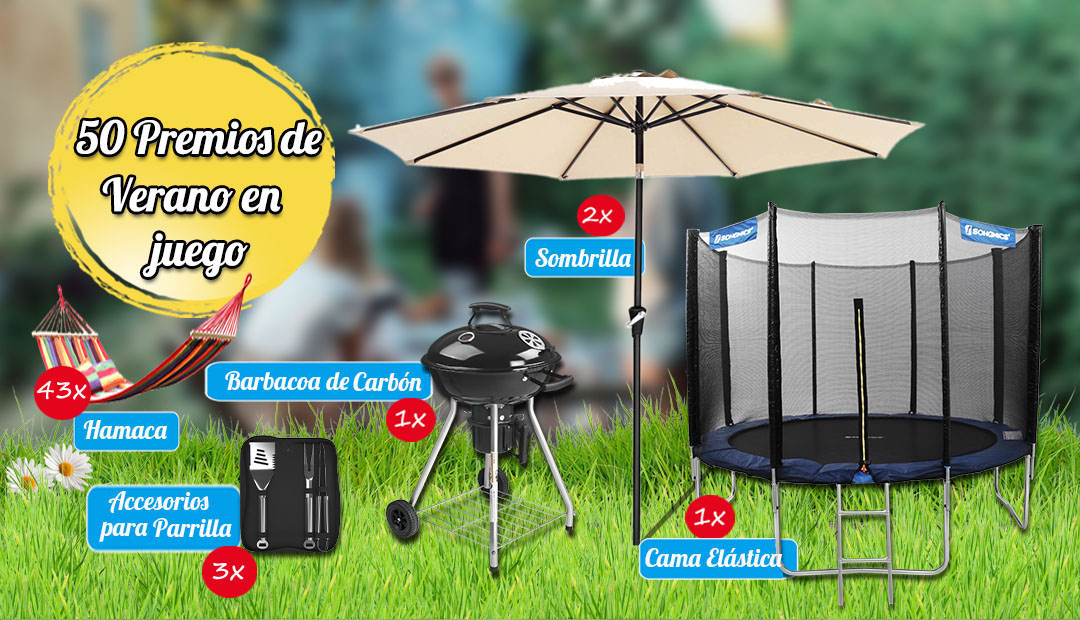 Win a Trampoline, Charcoal Barbecue, 2x Parasol, 3x Kit Grill utensils and more Giveaway Image