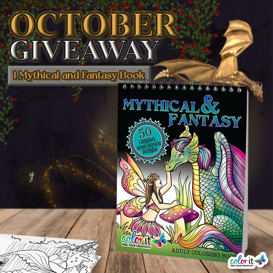 October 2021 ~ Mythical and Fantasy Coloring Book Giveaway Giveaway Image