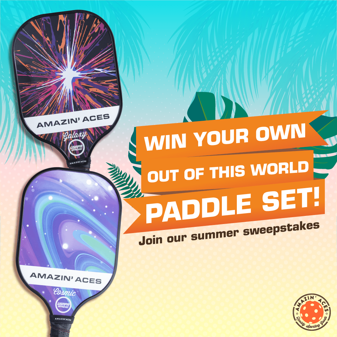 Enter to win an Amazin' Aces USAPA-Approved Cosmic Pickleball Paddle Set OR an Amazin' Aces USAPA-Approved Galaxy Pickleball Paddle Set. 4 Winners! Giveaway Image