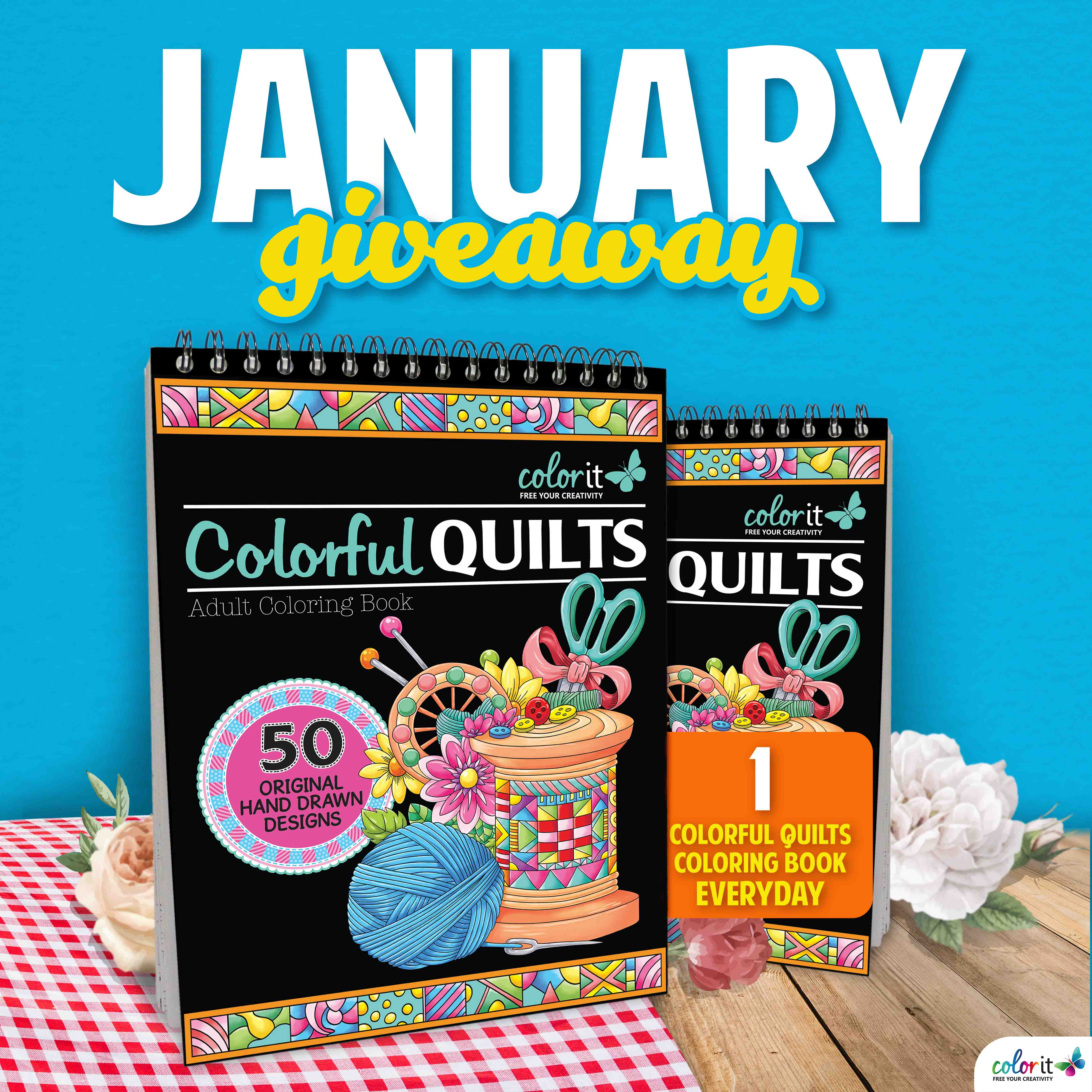 Enter to win a copy of Colorful Quilts Coloring Book Giveaway Image