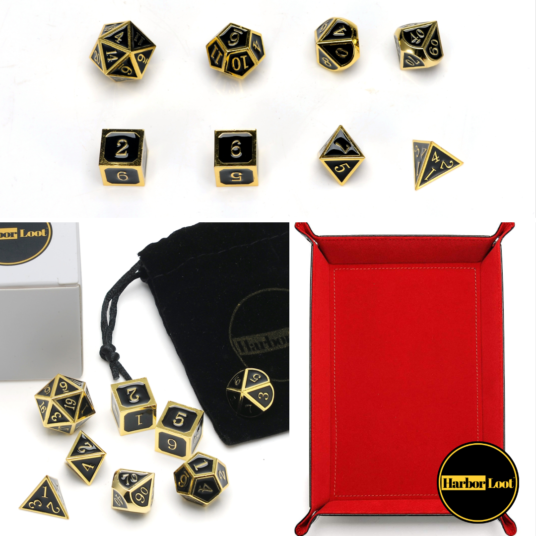 Enter for a chance to win 2 Sets of Harbor Loot Gold & Black Metal Dice Sets and a Bonus Portable Harbor Loot Dice Tray! Giveaway Image
