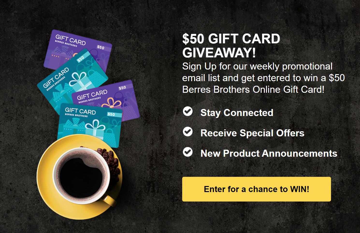 Enter to win a $50 Berres Brothers Coffee Roasters eGift Card Giveaway Image
