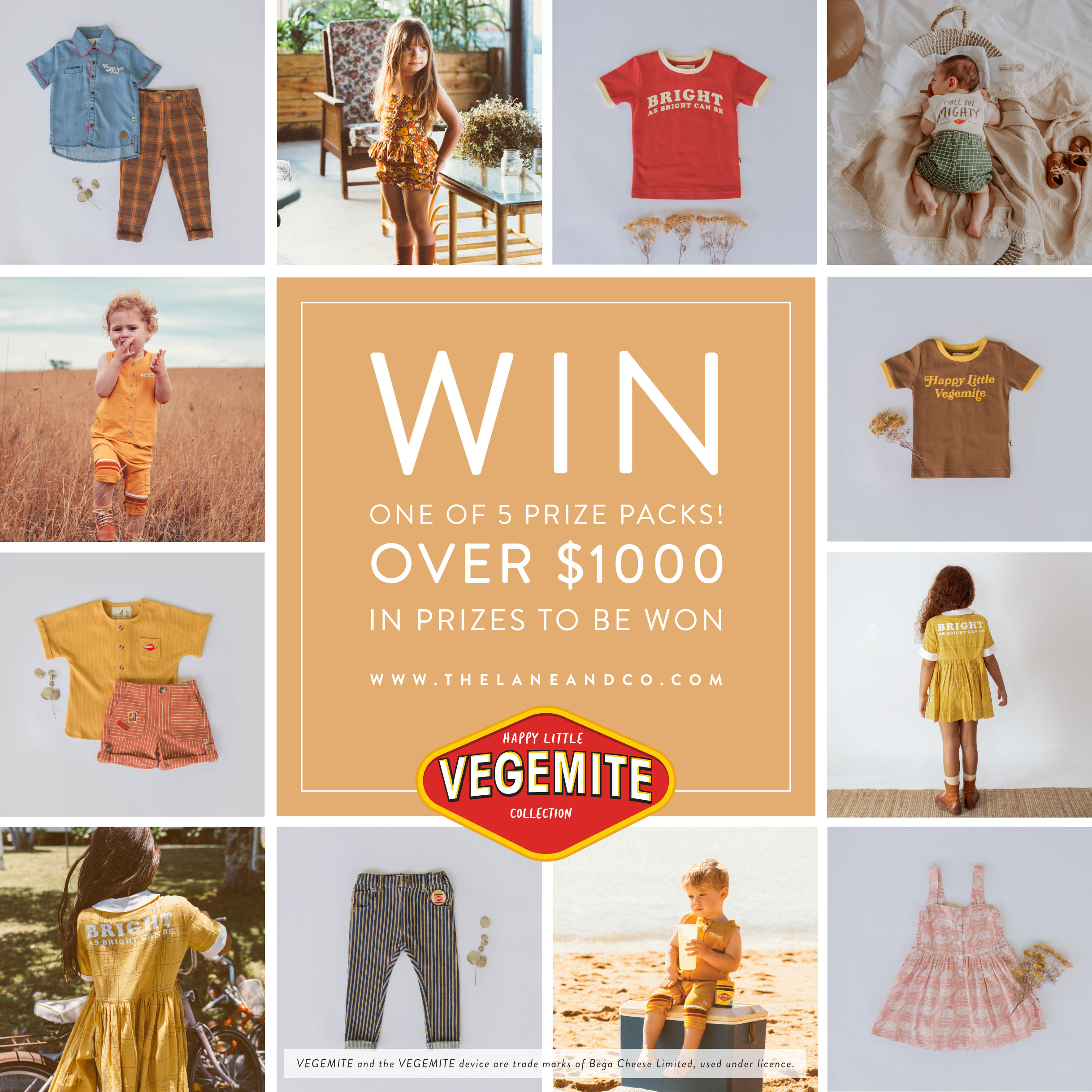 Enter for a chance to win 1 of 5 Vegemite prize packs and up to $300 to spend on Happy Little Vegemite Collection! 5 Winners! Over $1000 in Prizes to be Won! Giveaway Image