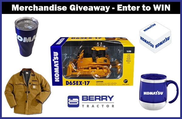 Berry Tractor Merchandise Giveaway. Win (1) Komatsu D65EX-17 Dozer Scale Model (1) Komatsu Copper Insulated Tumbler 20oz. (1) Komatsu Cube Memo Notepad + second and third place prizes Giveaway Image
