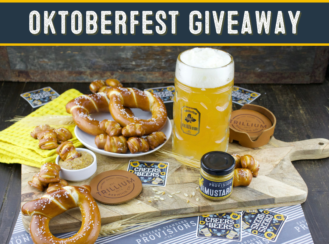 Enter to win an Eastern Standard Provisions Oktoberfest Party Pack, a Limited Edition Trillium Beer Stein, a Set of4 Trillium Leather Coasters, and a $25 Trillium Gift Card. Three runner up winners will each receive an Eastern Standard Provisions Oktoberf Giveaway Image