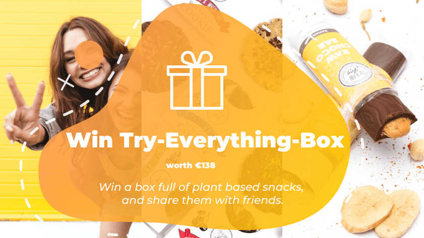 Nutritious Try-Everything Box worth �138. Box full of raw vegan energy cookies ????, premium activated nut butters ????and super creamy, raw chocolate snacks ???? Giveaway Image