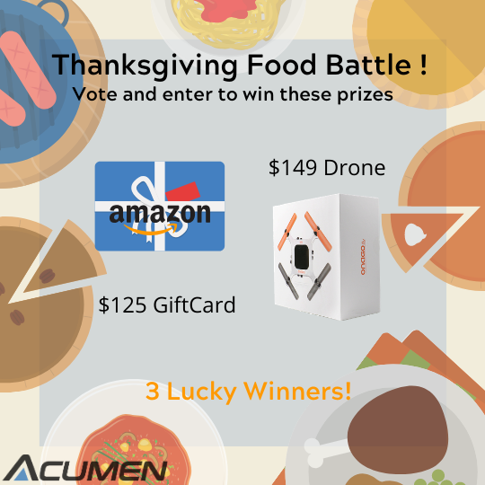 Thanksgiving Food Battle and Giveaway! Win an Onago drone and $125 to Amazon! Giveaway Image
