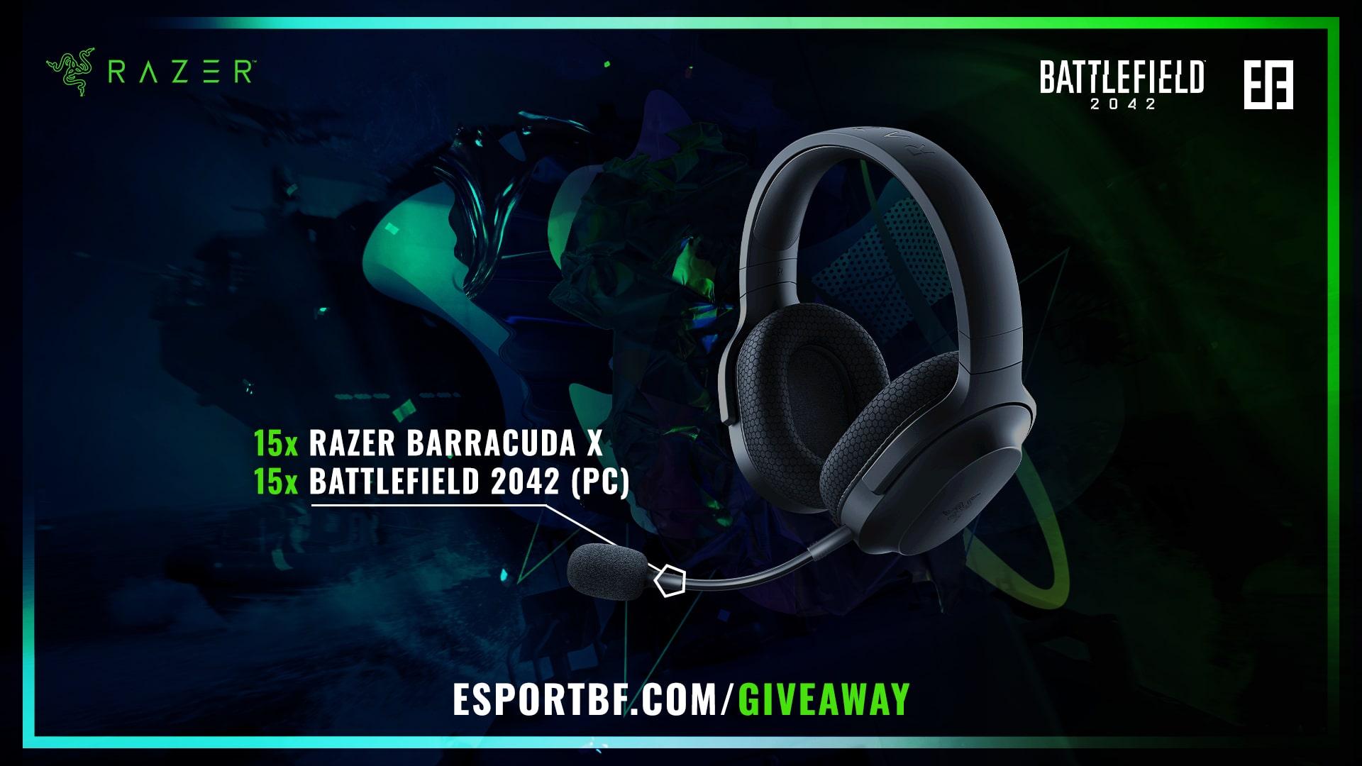 15x Razer Barracuda X Headsets. Razer x ESB - Gear up for Battlefield 2042   Giveaway Giveaway Image