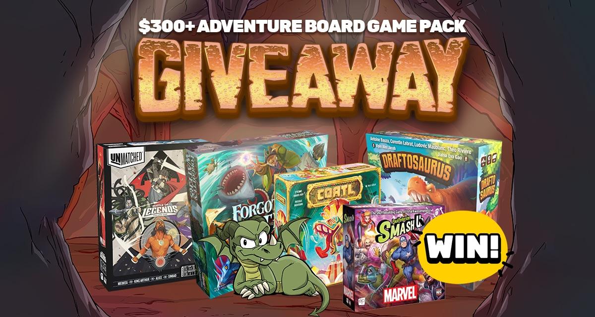 Win 5 Board Games (300$): Marvel: Smash Up, Forgotten Waters, Draftosaurus, Coatl, Unmatched Giveaway Image