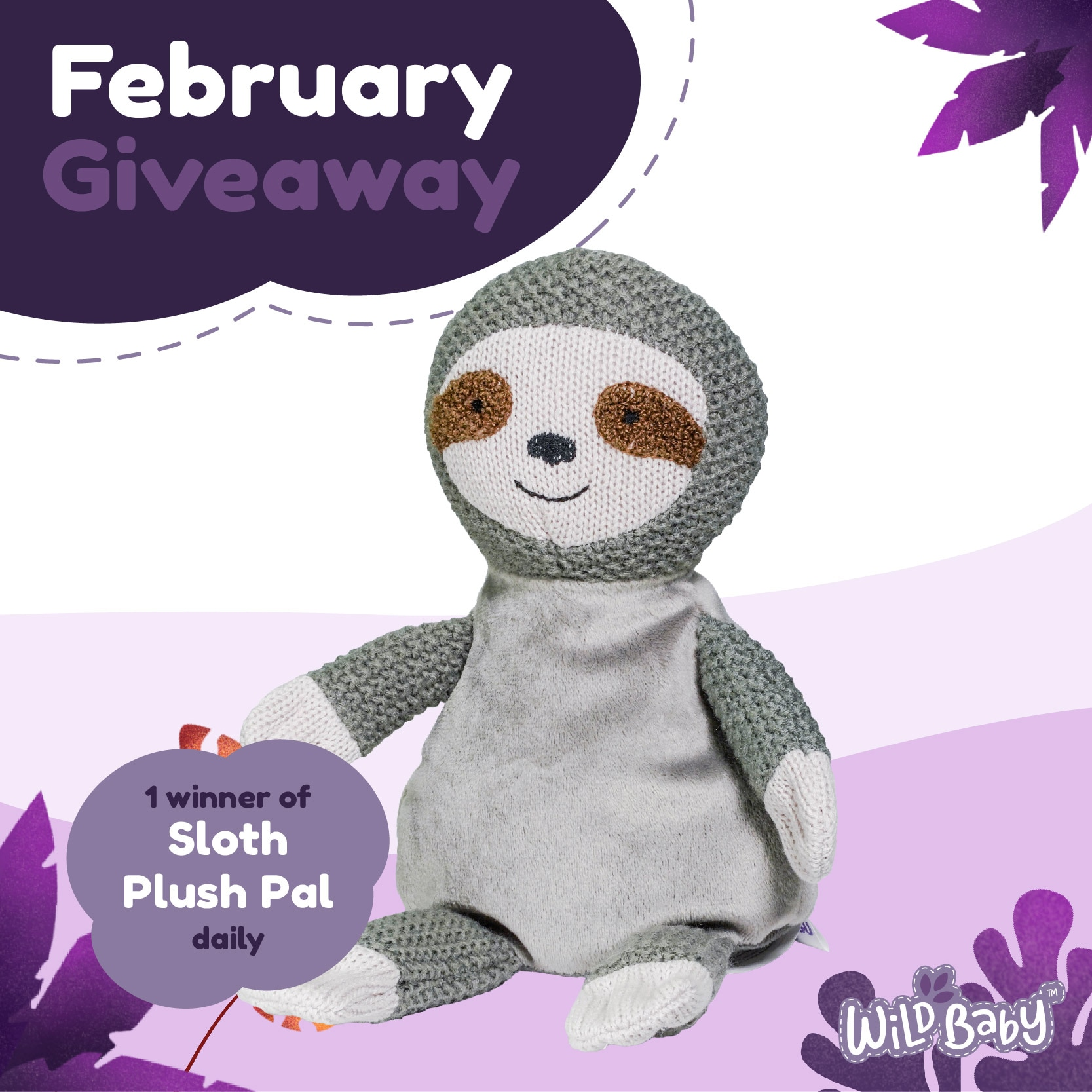 February 2021 Wild Baby Giveaway - Sloth Plush Pal Giveaway Image
