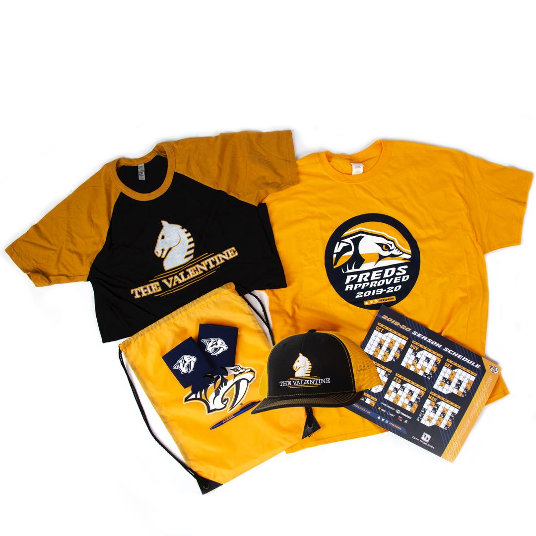 Enter to win the Nashville Predators Prize Pack including a Nashville Predators T-Shirt, Koozies, Cinch Bag, a Hat, a Pen, the Valentine Logo Tee and more! Giveaway Image