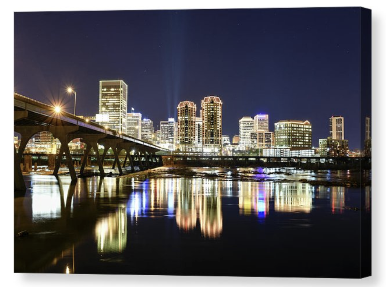Enter to win a Richmond VA Night Lights 11x16 Canvas Print or 1 of 3 Secondary Prizes of 11x14 Print Giveaway Image