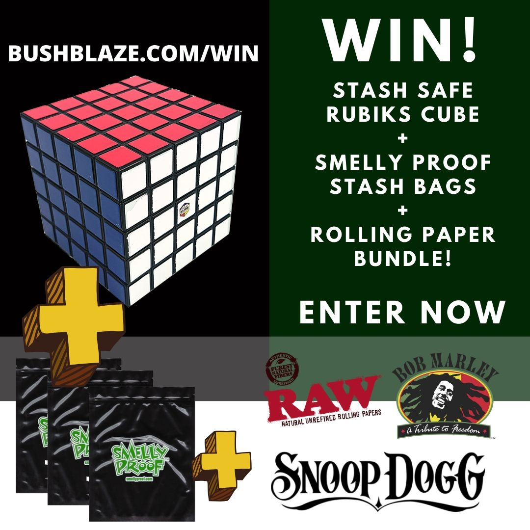 Enter to win Rubik's Cube Stash Safe, Smelly Proof Stash Bags and a Bundle of Rolling Papers. Giveaway Image