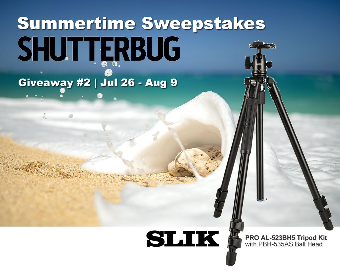 3x SLIK PRO AL-523BH5 Tripod Kits with PBH-535AS Ball Head ($189.95 retail value each) and 4x $50 Amazon Gift Cards Giveaway Image