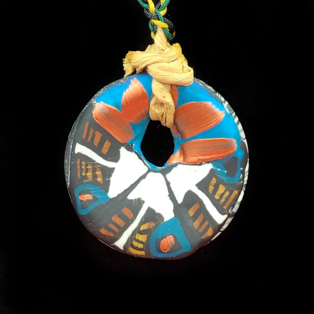 Enter to win a 1 3/4� Diameter Circle Pendant from Arrows is Foreverbird Studio. Made from polymer clay and painted with metallic acrylic on the front. Giveaway Image