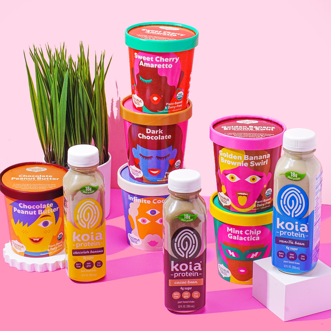 Enter to win 6 pints of Coconut Bliss ice cream and a variety pack of Koia protein shakes. Giveaway Image
