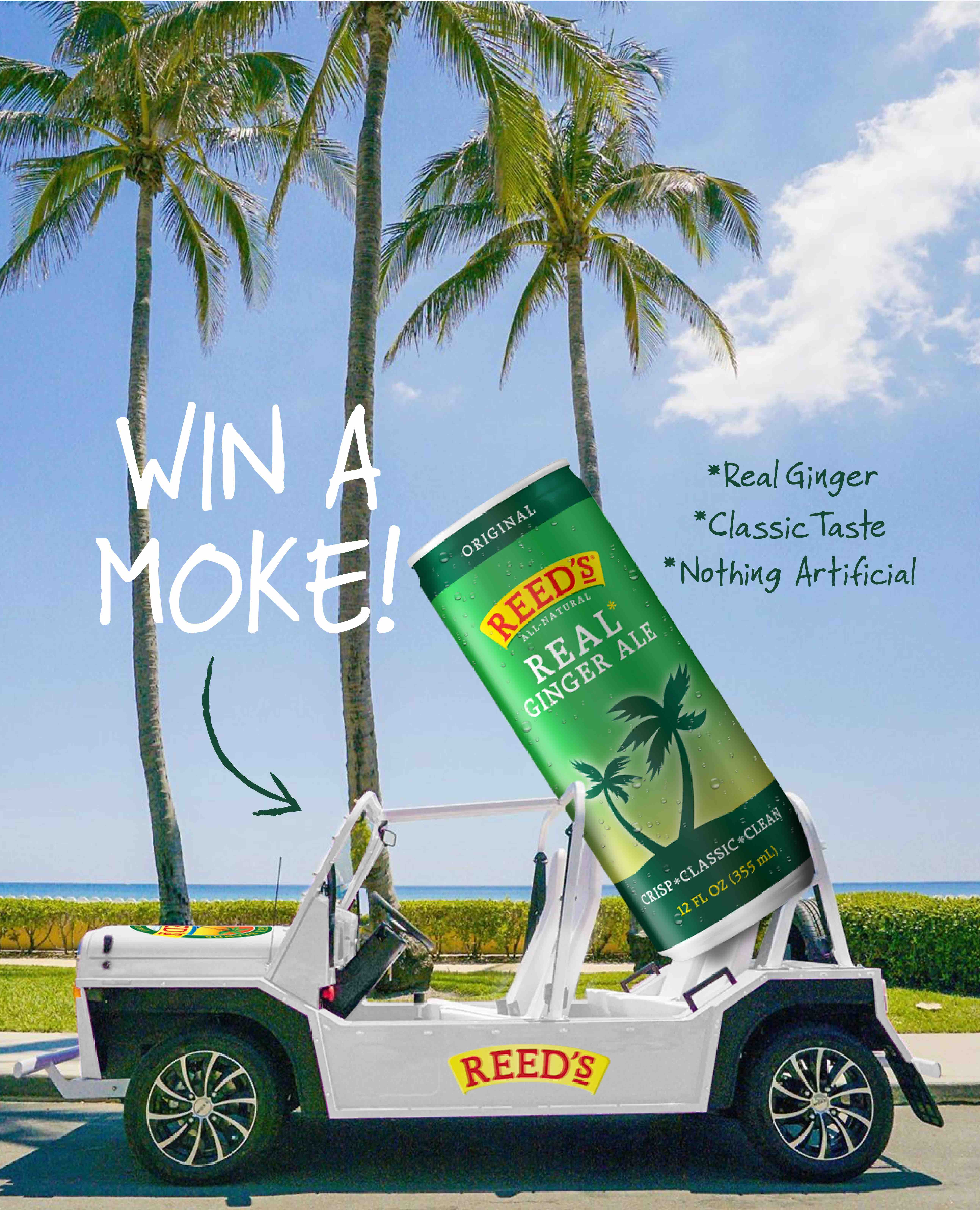 Win (1) Reed's MOKE vehicle filled with Reed's REAL ginger ale! The approximate retail value (�ARV�) of the Grand Prize: $18,975 Giveaway Image