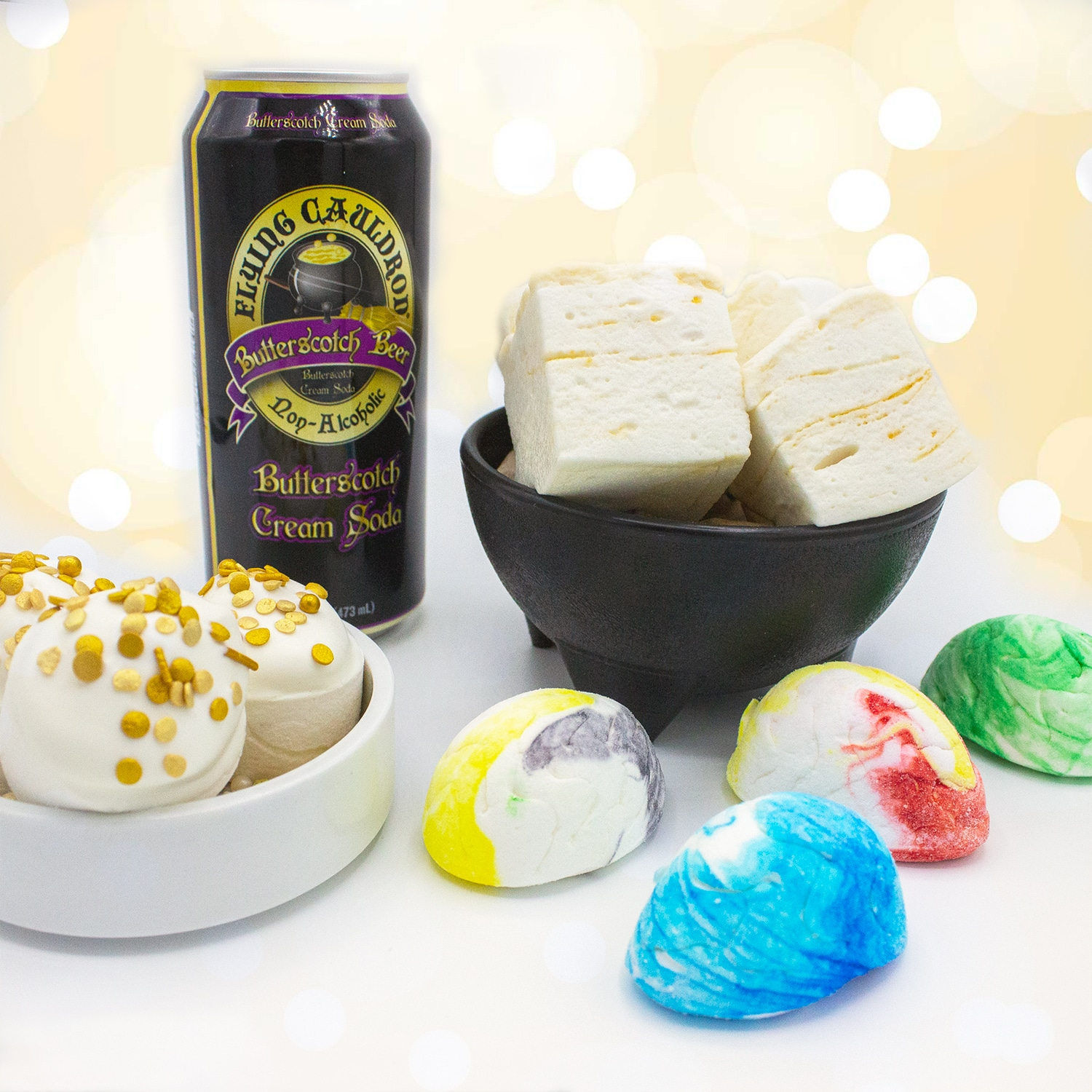 Enter to win a year's supply of Flying Cauldron Butterscotch Cream Soda and some limited edition Toasted Mallow Treats. Giveaway Image