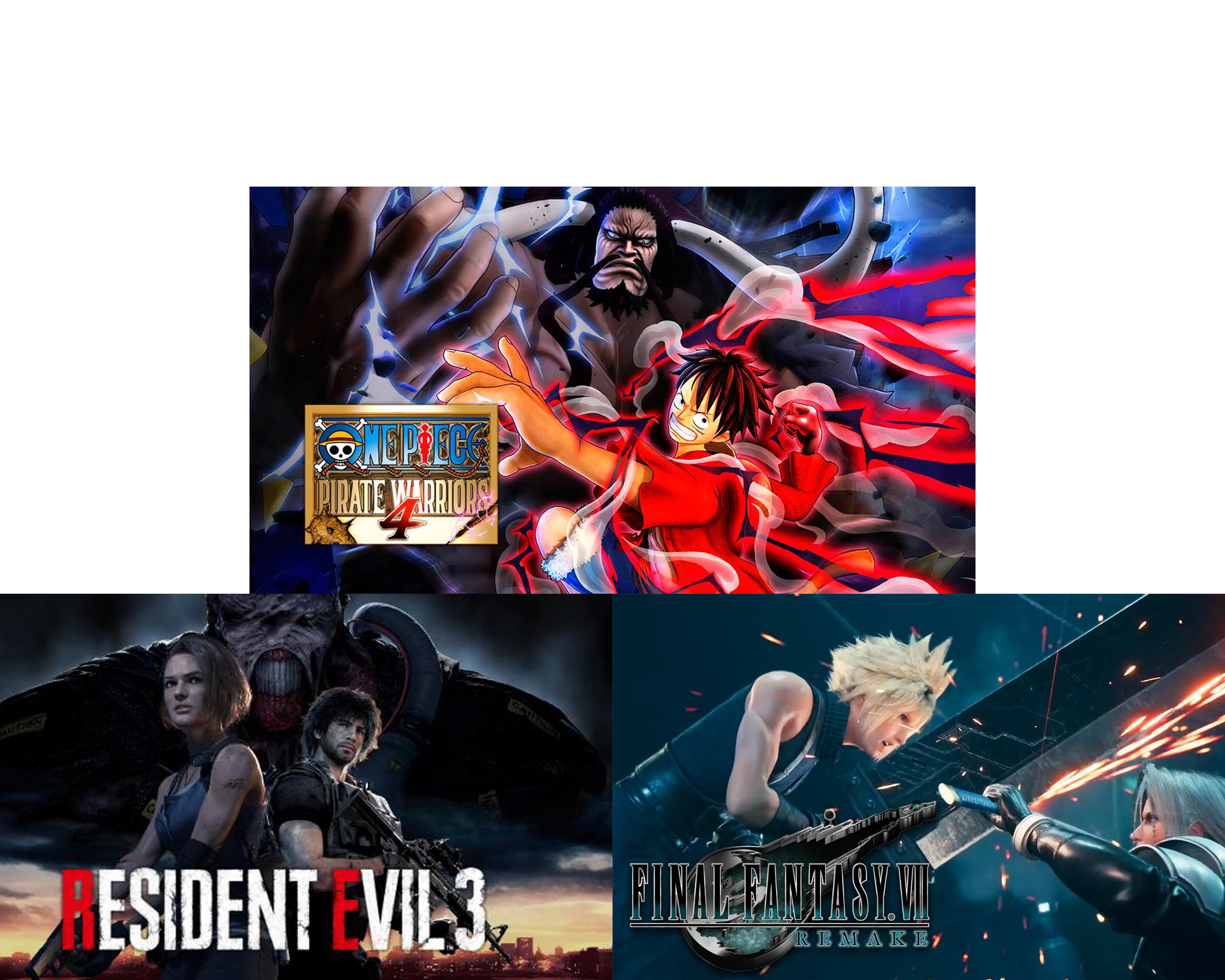 Enter to win one of three games for PC - One Piece Pirate Warriors 4, Resident Evil 3 or Final Fantasy VII. Giveaway Image