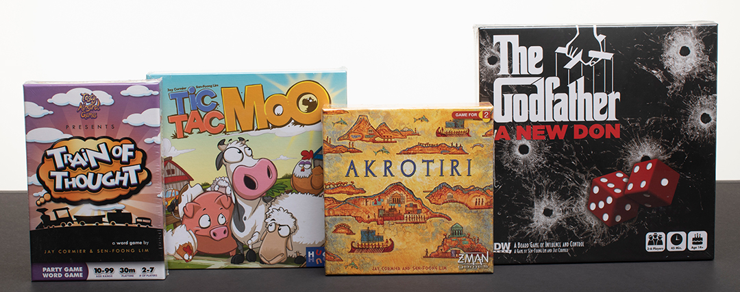 4 winners! Win the board game Akrotiri, Tic Tac Moo, Train of Thought, or The Godfather: A New Don Giveaway Image