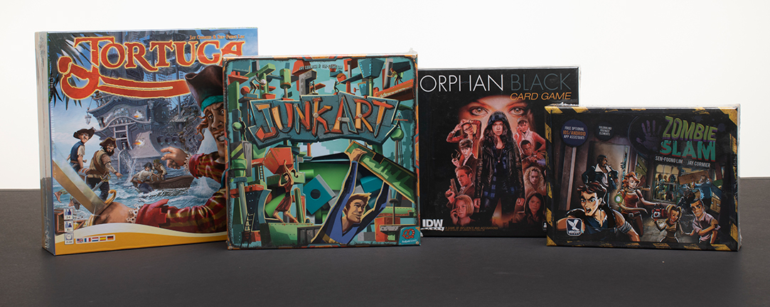 4 winners! Win a board game - Tortuga, Junk Art, Orphan Black: The Card Game, or Zombie Slam Giveaway Image