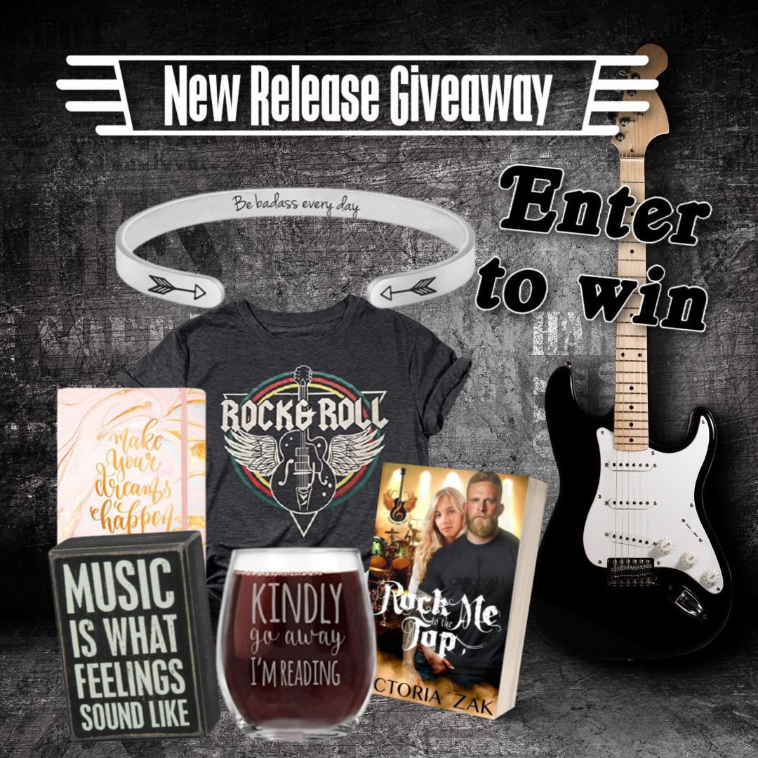 Rock Me to the Top New Release Giveaway ~ Prizes include a Rock & Roll T-Shirt, a Stemless Wine Glass, a Rock Star Bracelet, a Journal, a Cute Sign and a Paperback Copy of the Book Giveaway Image
