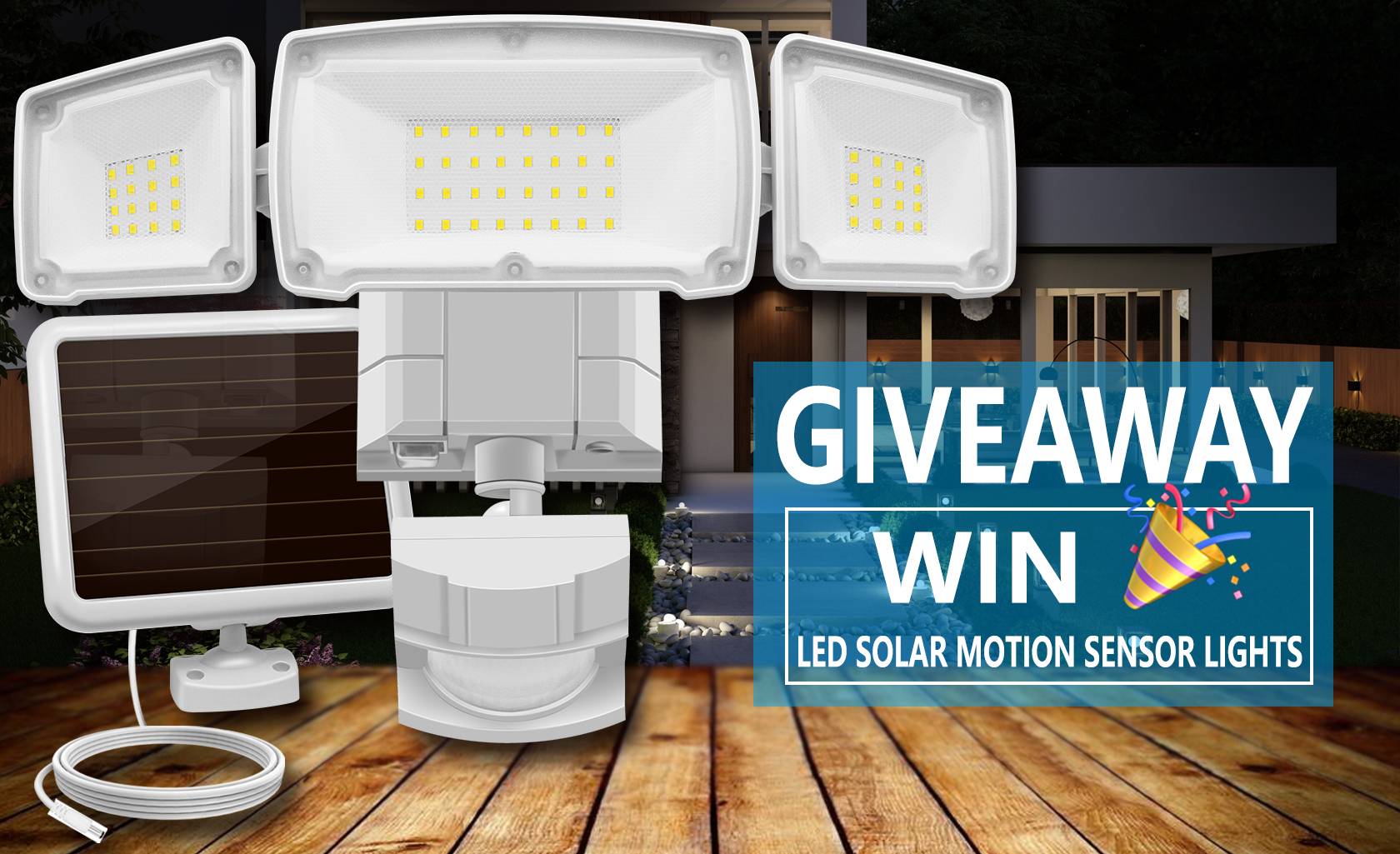 Enter to win LED Solar Motion Sensor Lights ~ 1500LM 6000K, 3 Adjustable Heads, IP65 Waterproof ~ Retails at $50 each ~ 10 Winners! Giveaway Image