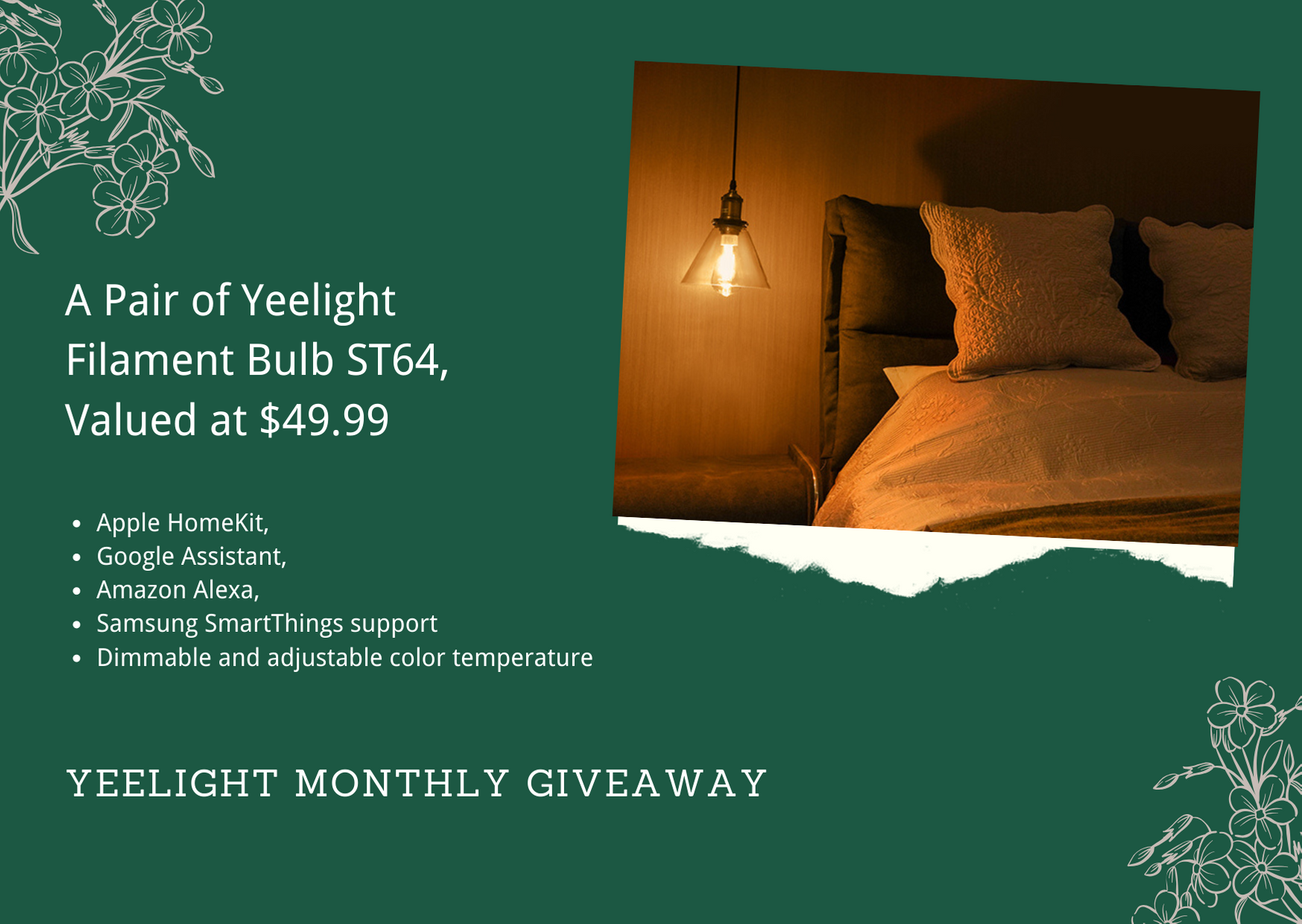 Win A Pair of Newly Launched Yeelight Filament Bulb ST64 Giveaway Image