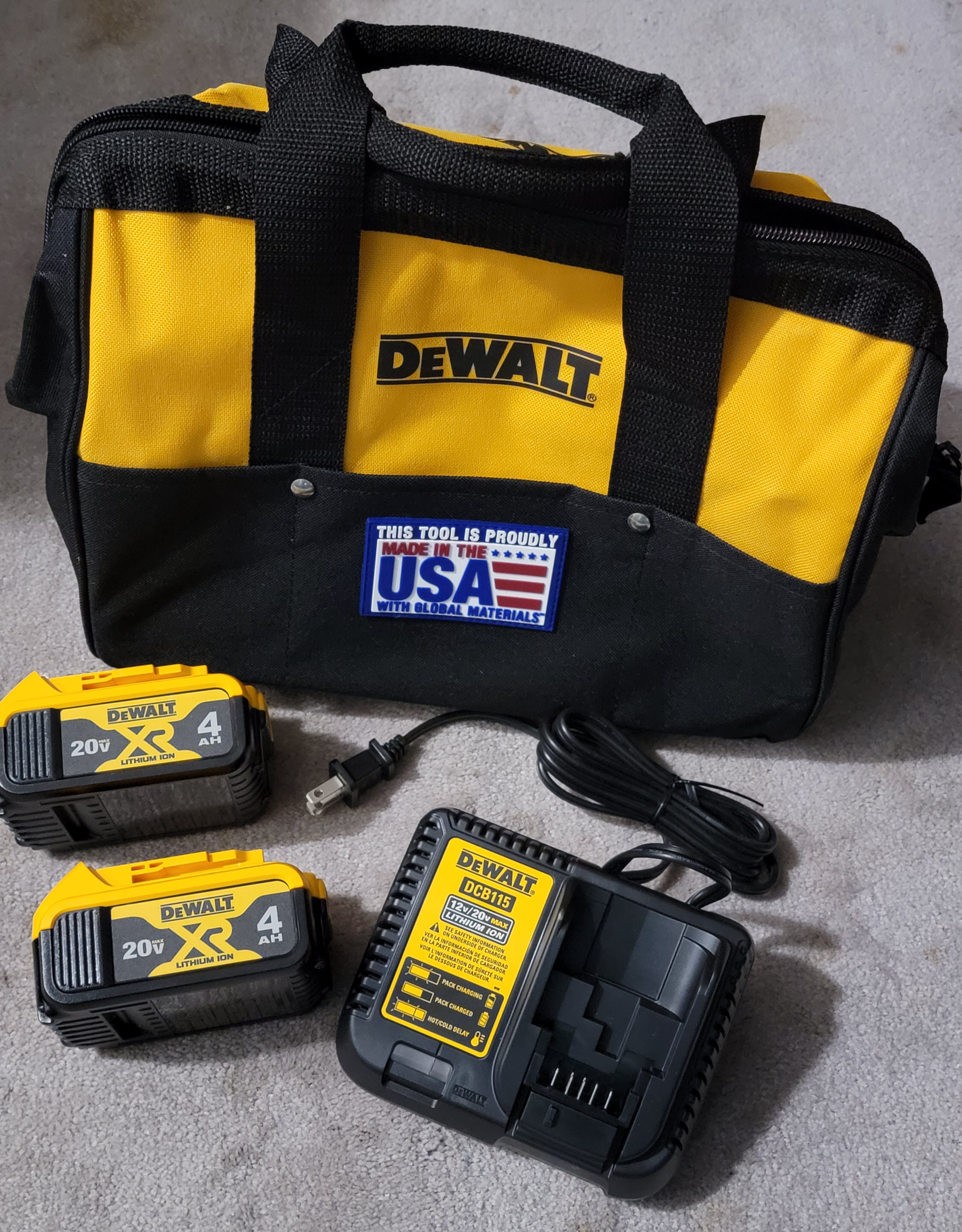 Tool Giveaway - DeWalt Charger Kit With Two 4 Ah Batteries, And Bag Giveaway Image