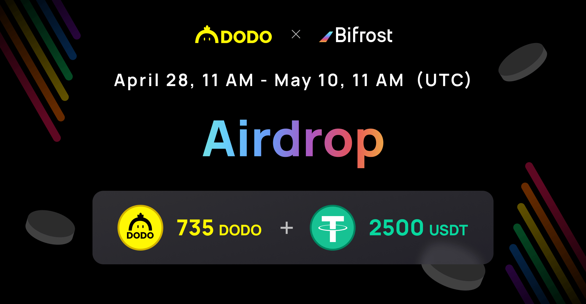DODO x Bifrost Airdrop ~ $5,000 in USDT and the DODO token among 800 participants Giveaway Image