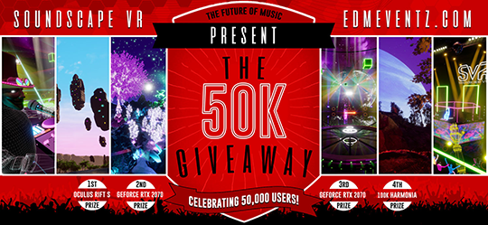 The Soundscape VR 50K Giveaway. Win an Oculus Rift S. Giveaway Image