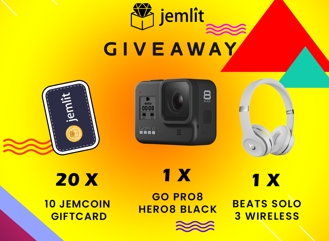 Go Pro Hero 8 Nero, Beat Solo 3 Wireless and 20x Jemcoin Giftcard   except UK Giveaway Image
