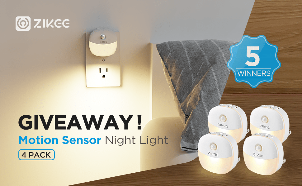 online contests, sweepstakes and giveaways - 4 Pack Night Light Motion Sensor Giveaway !!!