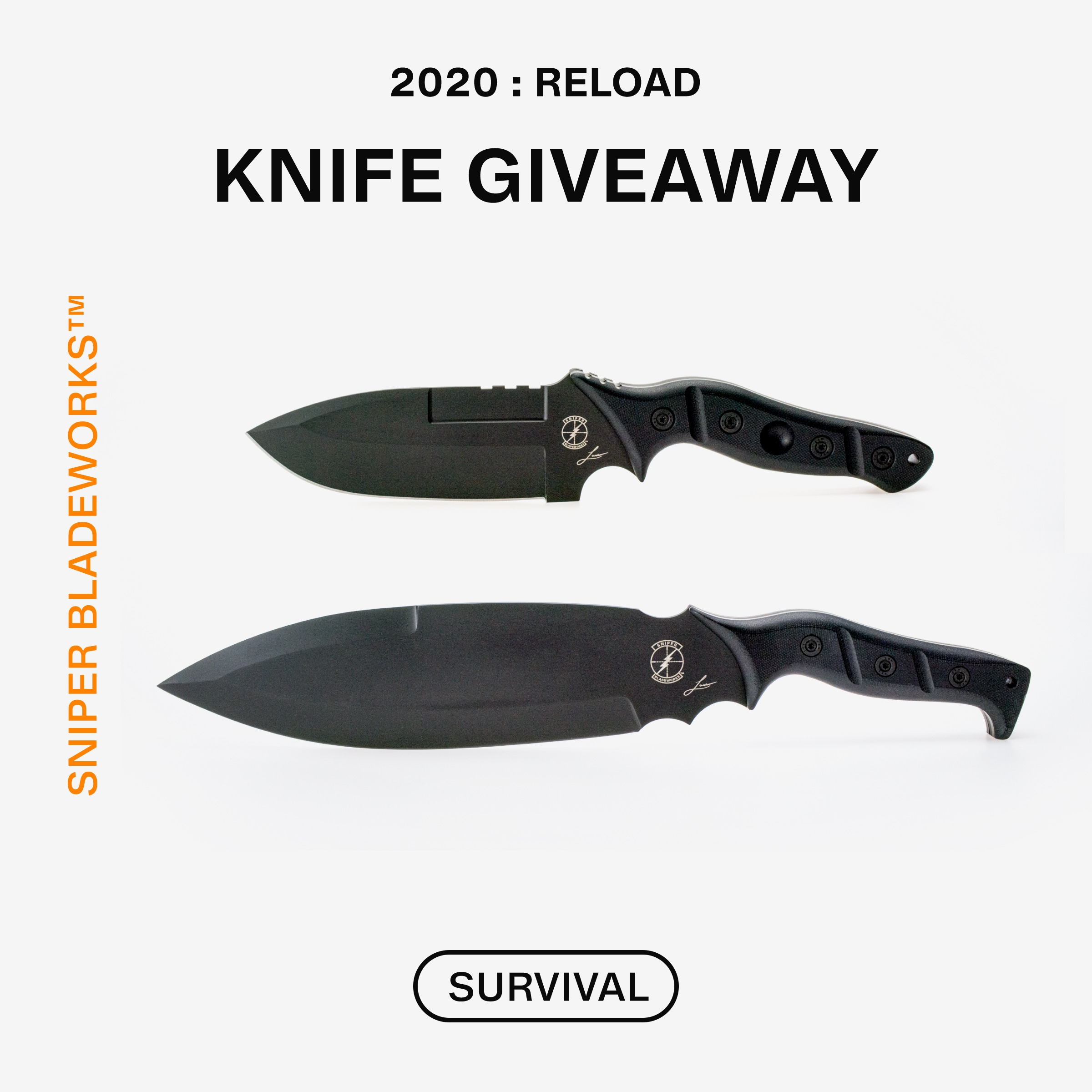 Enter to win an Outdoor MAMU Knife and an Outdoor Smachet Knife from Sniper Bladeworks. Giveaway Image