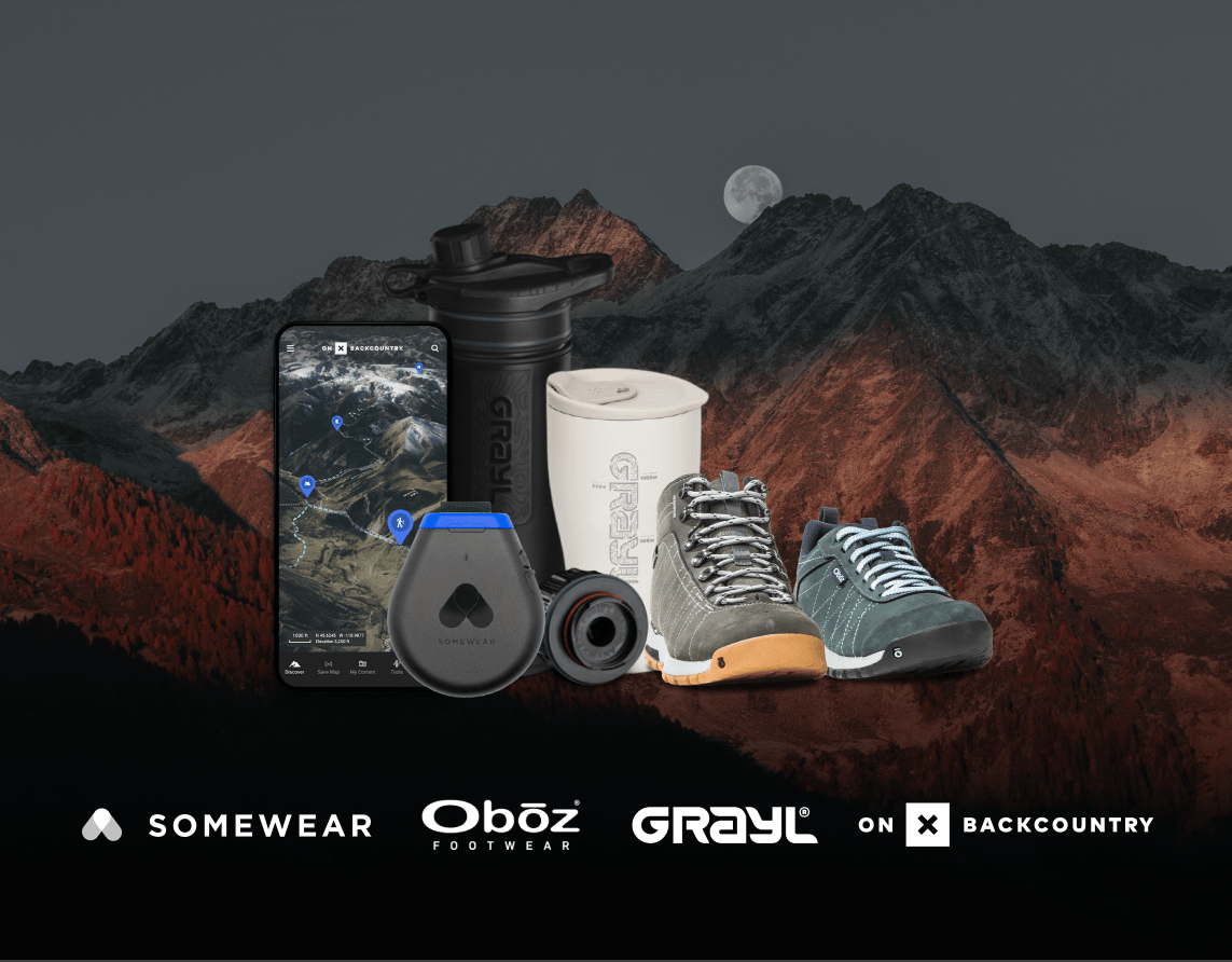 Gear Up For Summer Giveaway. Outdoors prizes from Somewhere, Grayl, Backcountry, Oboz Giveaway Image
