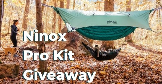 Air Camp Giveaway. Includes a Ninox Rain Fly, Ninox Fly Pole Kit, Ninox FlatLay Camping Hammock, Talon Suspension System, and Two Puffle 55° Adventure Blankets Giveaway Image