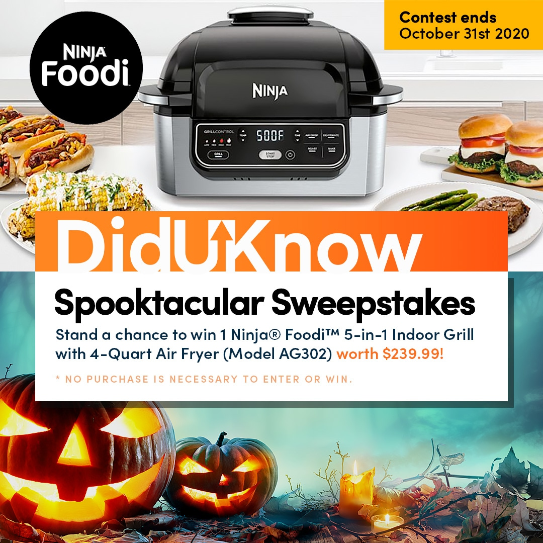 Win a Ninja® Foodi� 5-in-1 Indoor Grill with 4-Quart Air Fryer (Model AG302) worth $239.99! Giveaway Image