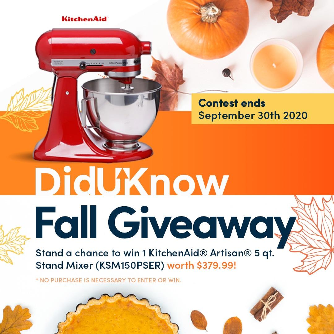 !in ?1 KitchenAid® Artisan® 5 qt. Stand Mixer (KSM150PSER) worth $379.99! Giveaway Image